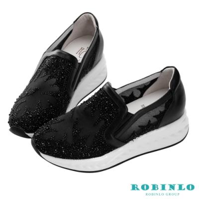 Robinlo 低調立體鑲鑽幸運草牛皮休閒鞋 黑色