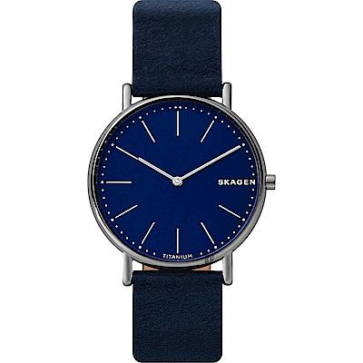 Skagen Signature 鈦金屬北歐時尚手錶(SKW6481)-藍/40mm