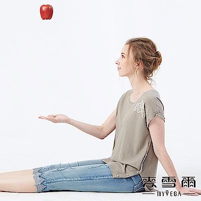 【麥雪爾】棉質珍珠綴飾蝴蝶結針織衫-卡其