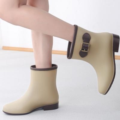 LN 現+預 英倫風時尚可愛短筒加絨雨鞋-3色