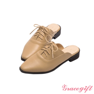 Grace gift-牛津綁帶低跟穆勒鞋 杏