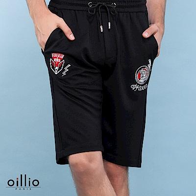 oillio歐洲貴族 休閒老虎閃電刺繡短褲 質感超柔彈力棉料 黑色