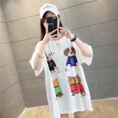 【韓國K.W.】時尚潮流卡通風格印花上衣-2色