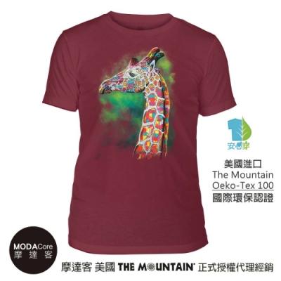 摩達客-美國The Mountain都會系列 彩畫長頸鹿紅底 中性修身短袖T恤