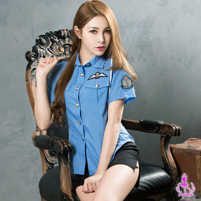 Ayoka軍警帥氣藍色女警角色扮演服二件組-藍