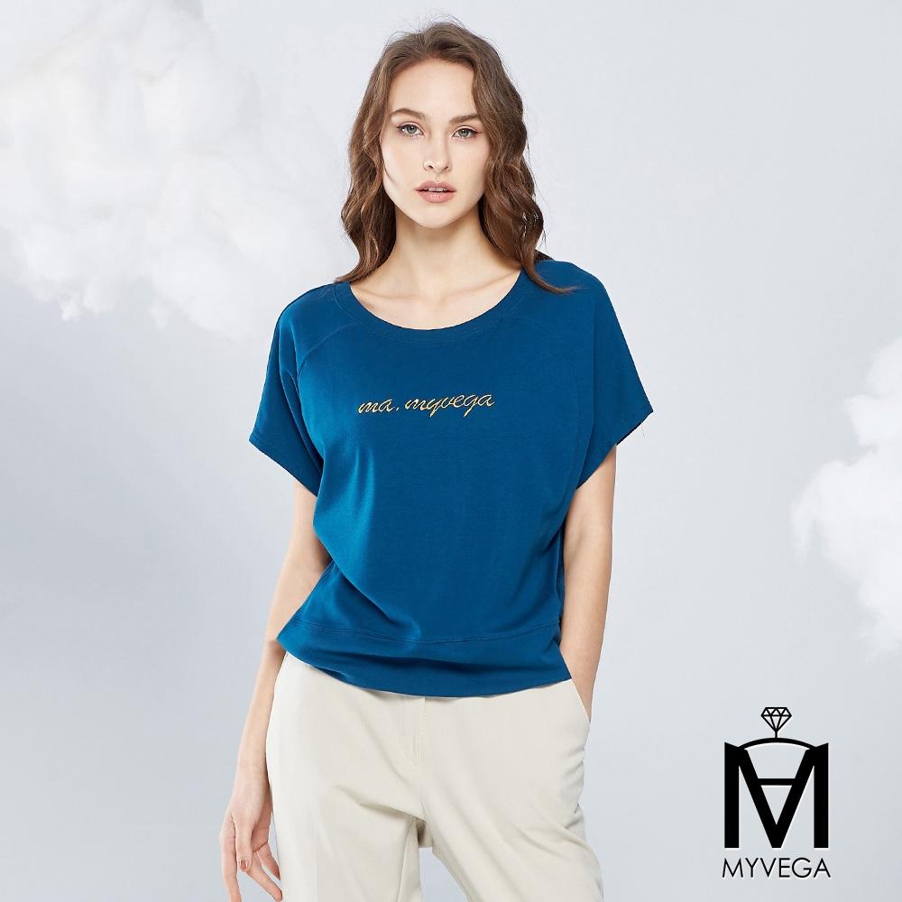MYVEGA麥雪爾 MA高含棉多片剪裁彈性上衣-藍