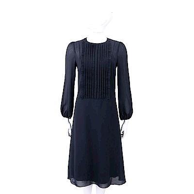 Max Mara 百褶細節深藍雪紡絲質洋裝