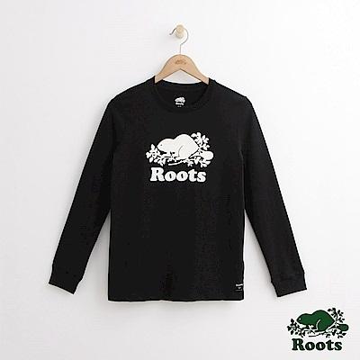 Roots -女裝- 經典庫柏海狸長袖T恤 - 黑