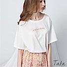 色塊字母刺繡T恤上衣 共三色 TATA