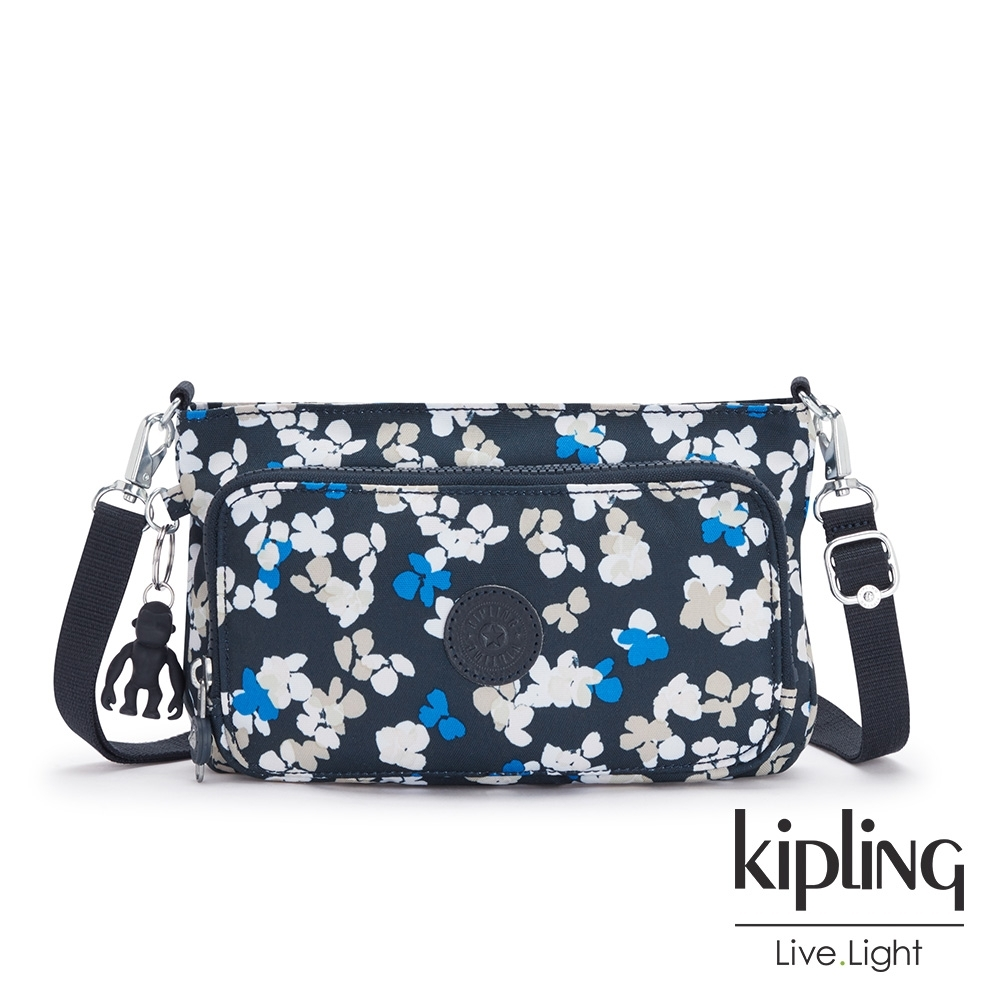 Kipling 清新手繪碎花前袋拉鍊長形肩背包-MYRTE