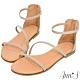 Ann'S黃金比例三條帶-頂級牛皮後拉鍊平底涼鞋(版型偏小)-杏 product thumbnail 1