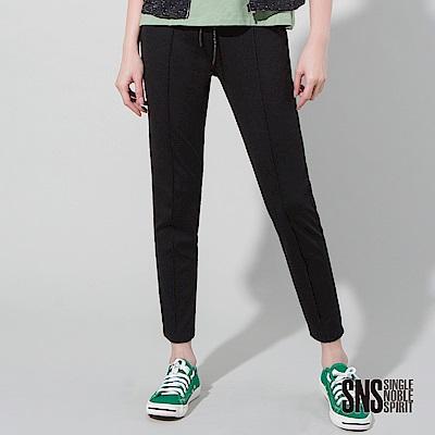 SNS 流行元素中縫線彈性窄管九分褲(1色)