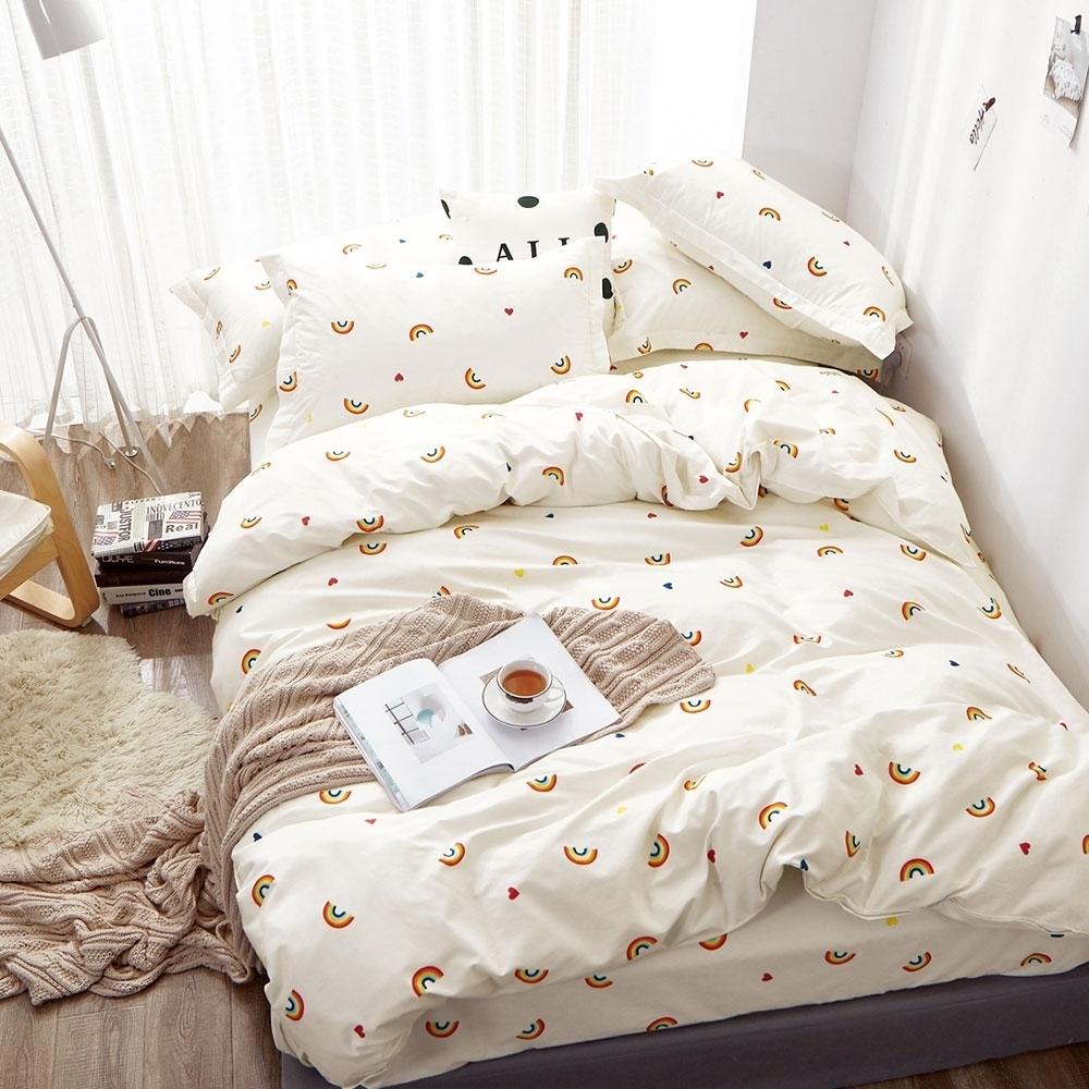 (買一送一)DUYAN竹漾-100%精梳純棉-單/雙/大床包枕套組-多款任選 台灣製 (彩虹小徑)