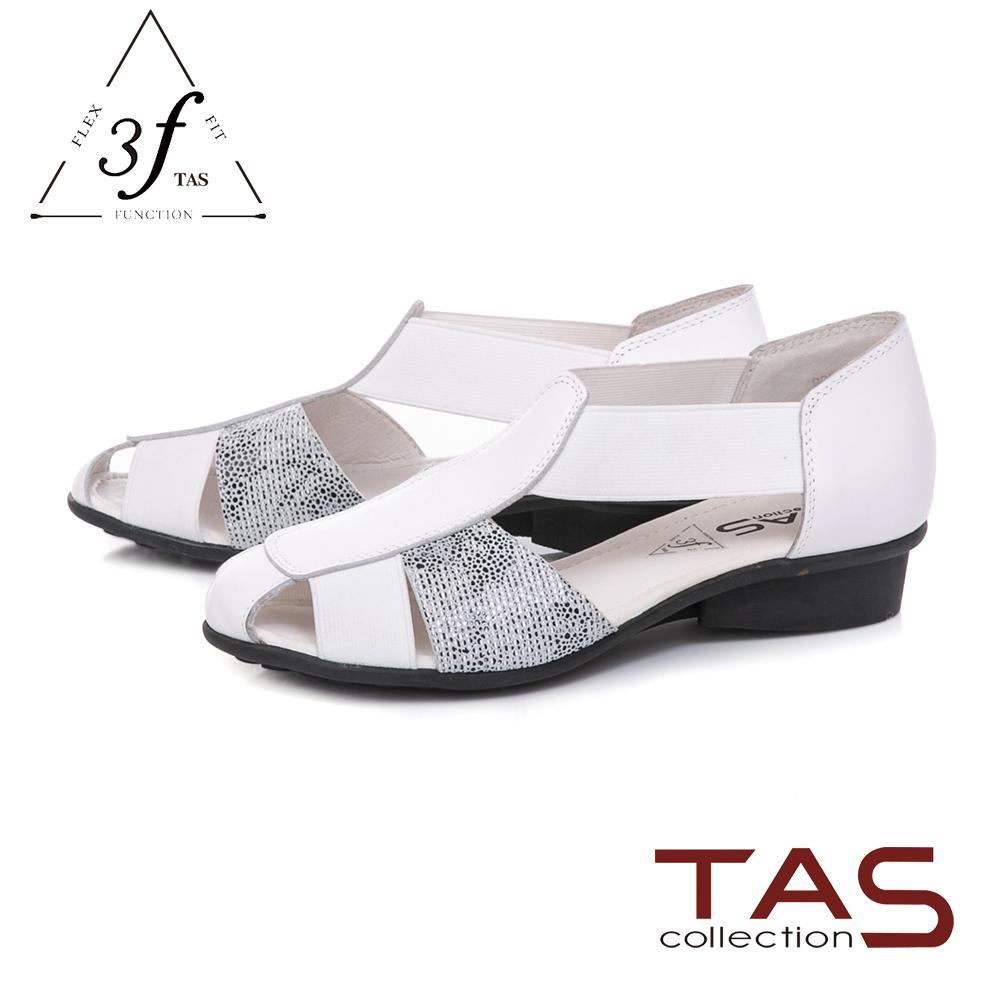 TAS 質感造型燙金拼接牛皮涼鞋-氣質白