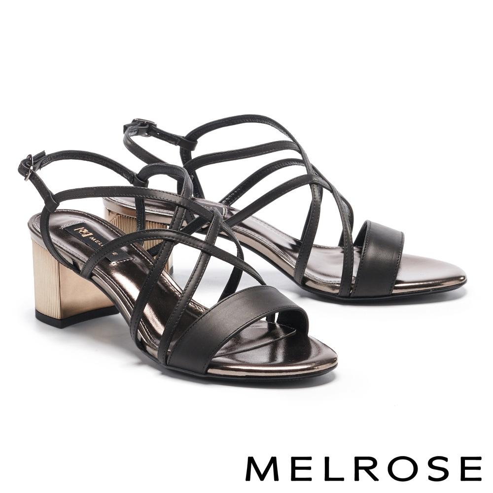 涼鞋 MELROSE 氣質優雅一字交叉細帶方頭高跟涼鞋-黑