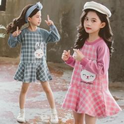 小衣衫童裝 中大童可愛兔子長袖格子連身裙洋裝1081006