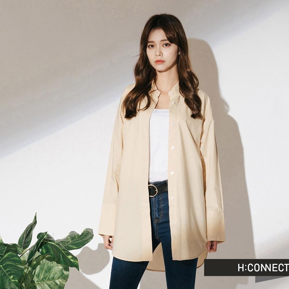 H:CONNECT 韓國品牌 女裝- 不收邊率性靴型褲-深藍