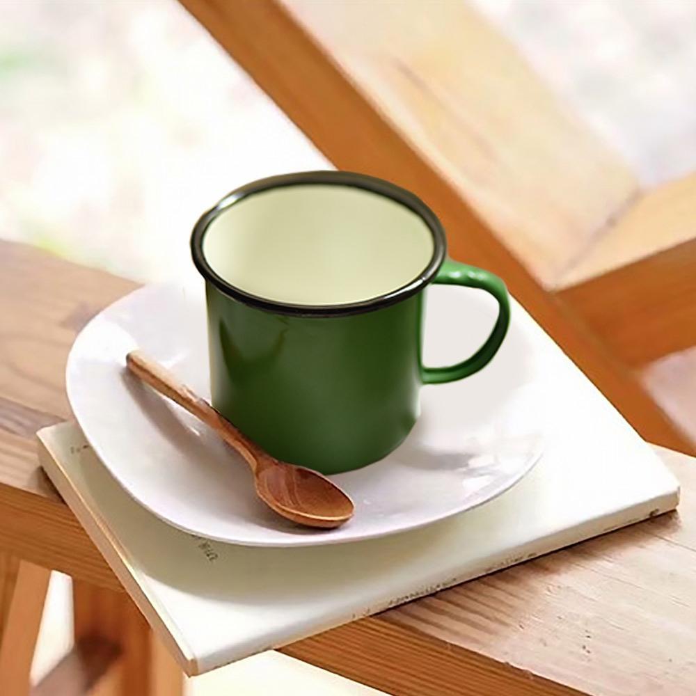 Homely Zakka 復古琺瑯 經典素色咖啡8號杯(翠綠)