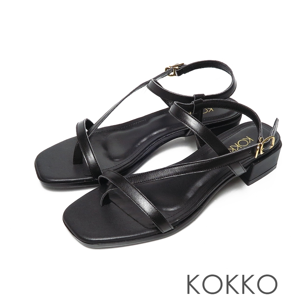 KOKKO時髦方頭小牛皮線條夾腳繫帶粗跟涼鞋黑色