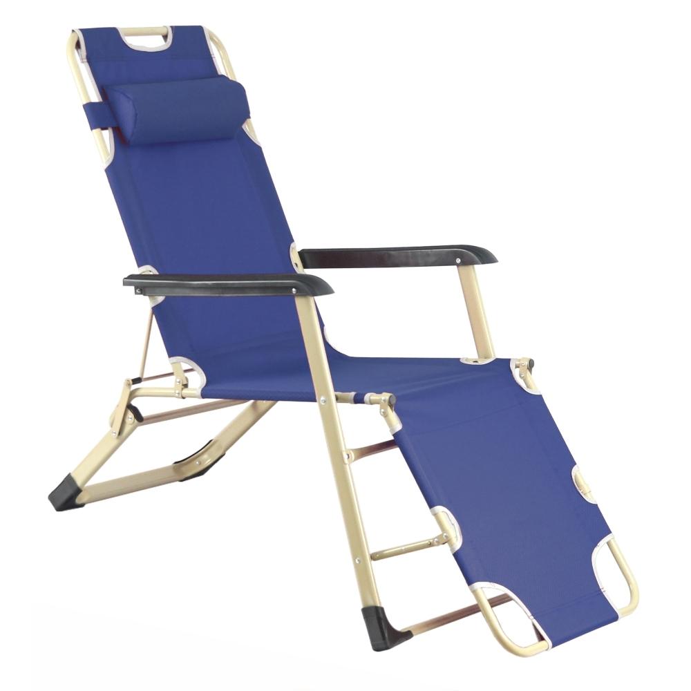 TreeWalker 新款單人加寬三段式躺椅(露營床)-深藍