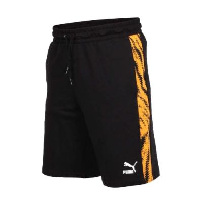PUMA 男流行系列運動短褲-慢跑 路跑 黑黃白
