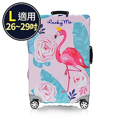 旅遊首選 行李箱套 防塵套 保護套 加厚高彈性伸縮 箱套 L號(紅鶴)