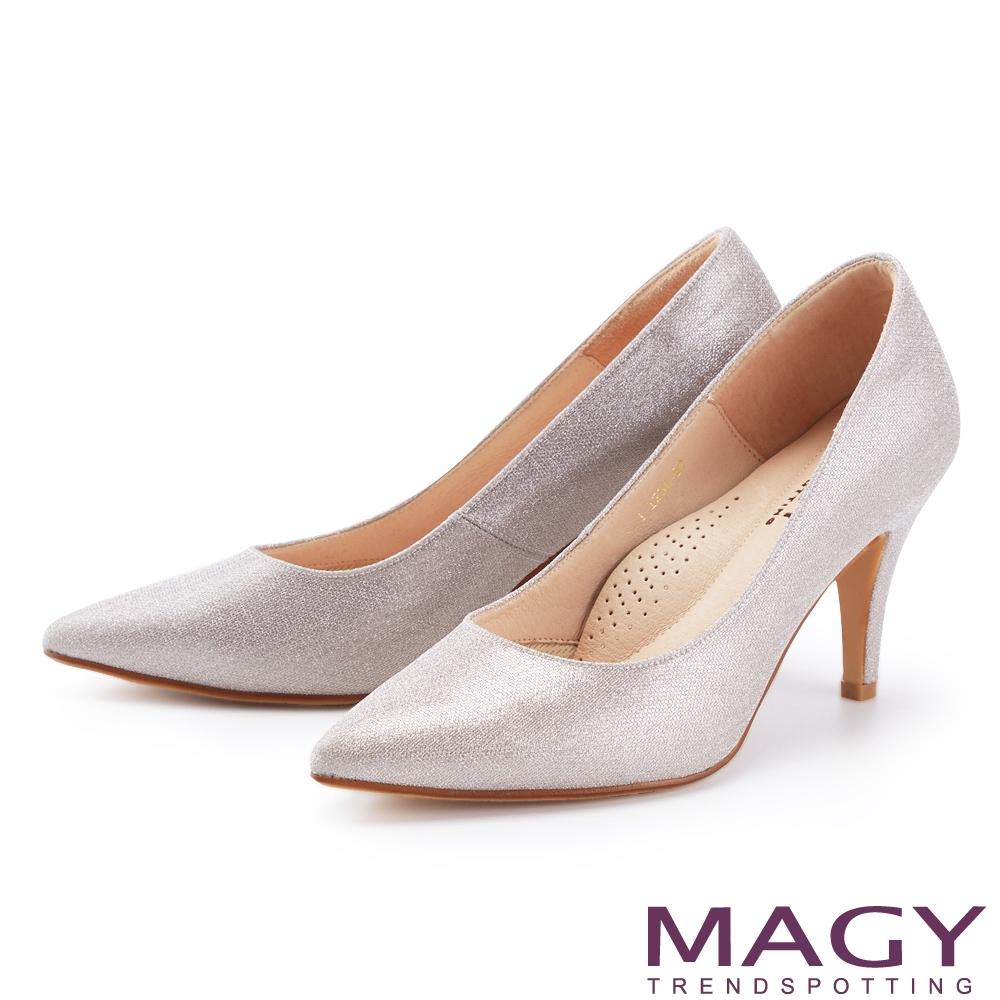 MAGY 閃爍金蔥花嫁尖頭 女 高跟鞋 粉色