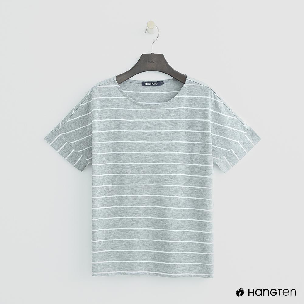 Hang Ten - 女裝 - 清新簡約橫條紋短T - 灰