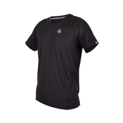 FIRESTAR 男吸濕排汗圓領短袖T恤-慢跑 路跑 黑銀