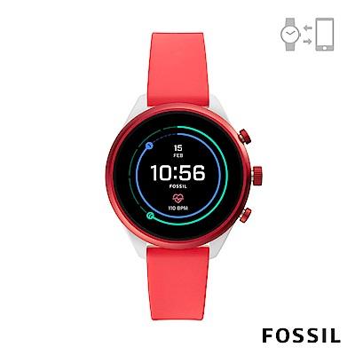 FOSSIL SPORT 運動智能錶-41MM 紅色矽膠
