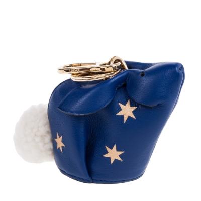 LOEWE 新款Bunny Stars Charm 星星兔子鑰匙圈零錢包 (深藍)