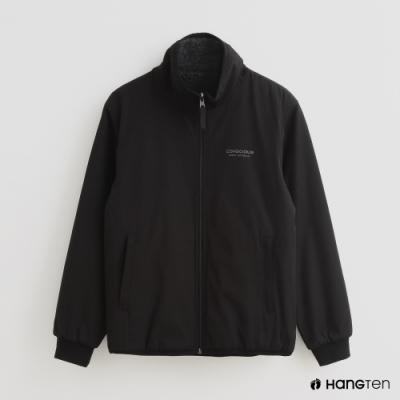 Hang Ten - 男裝 - 純色拉鍊內裡厚刷毛高領外套 - 黑