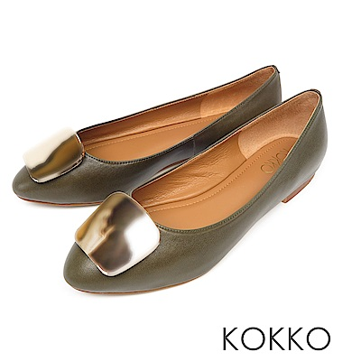 KOKKO - 溫柔的光亮金屬扣手工平底鞋-綠橄欖
