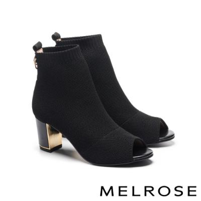 襪靴 MELROSE 摩登時髦彈力飛織布魚口粗高跟襪靴-黑