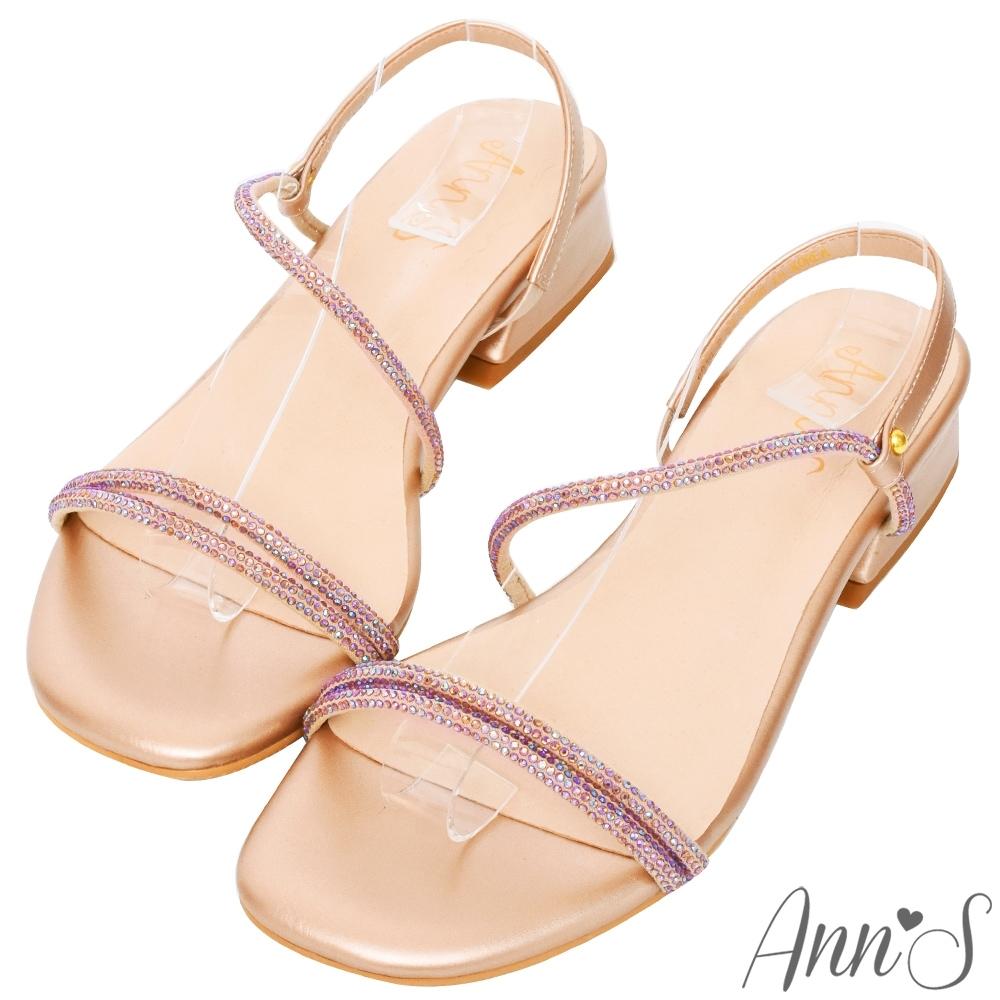 Ann'S海洋之星-漸層幻彩鑽石方頭粗跟涼鞋(版型偏小)