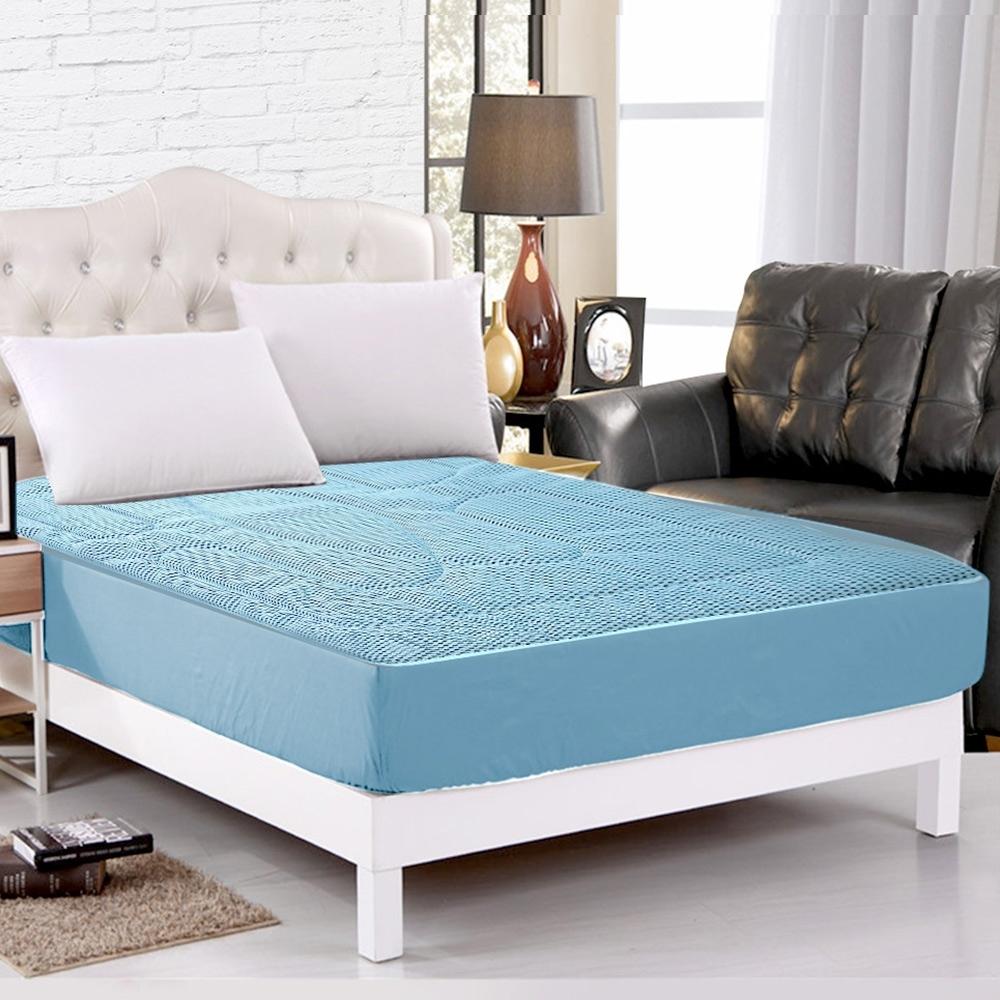 精靈工廠 新一代 3D超涼感床包式透氣床墊雙人三件套床包組 三色任選
