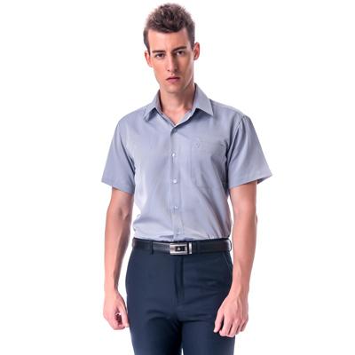 【金安德森】 灰色易整燙暗紋涼感窄版短袖襯衫fast