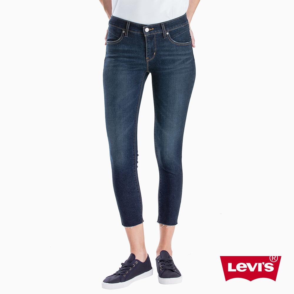 Levis 女款 Revel 中腰緊身提臀牛仔褲 超彈力塑形布料 褲管貓鬚毛邊