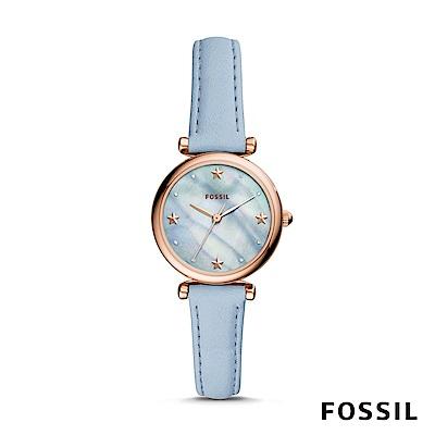 FOSSIL CARLIE MINI 天藍色星星迷你皮革女錶 28mm ES4528