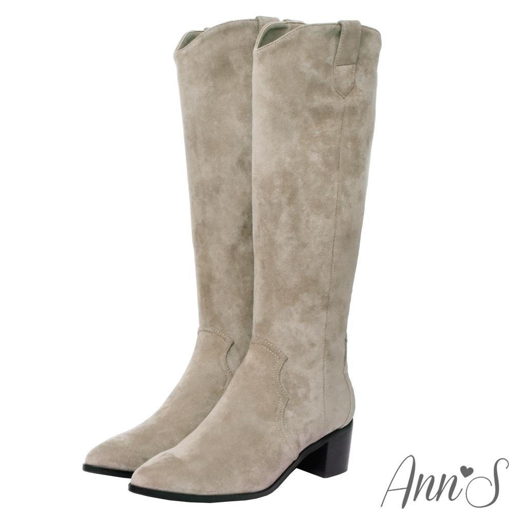 Ann'S窄版防水絨布-超修身V口顯瘦粗跟西部及膝長靴-杏