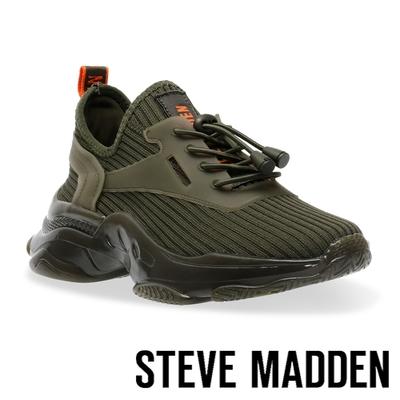 STEVE MADDEN-MATCH-K 彈性織布氣墊休閒鞋-墨綠色