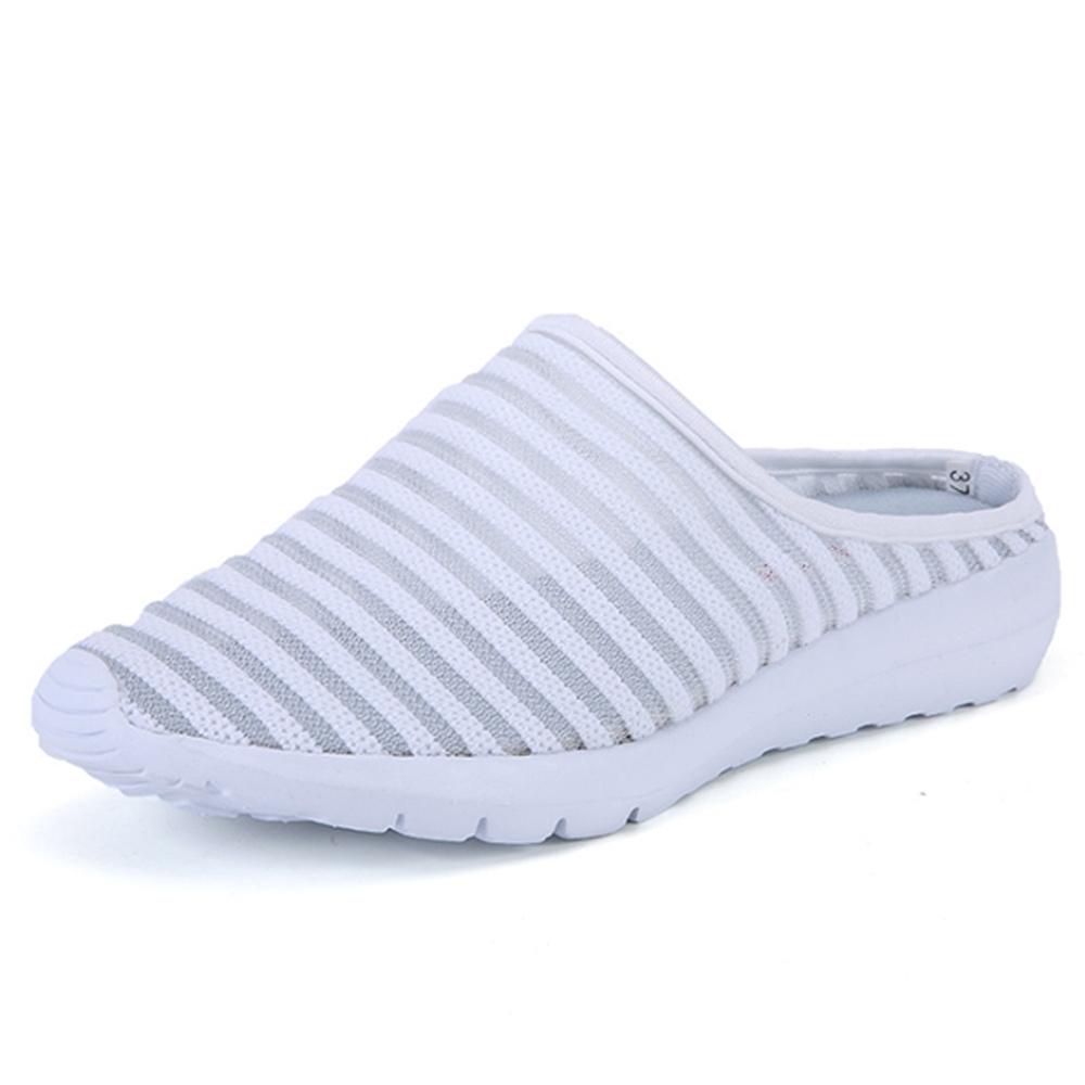 韓國KW美鞋館-橫式線條休閒輕量鞋 白