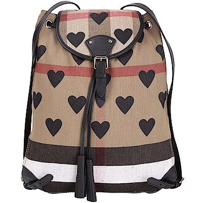 BURBERRY Canvas 黑色愛心印花流蘇飾束口後背包(展示品)
