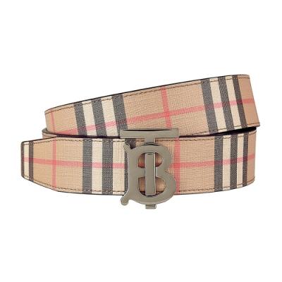 Burberry 復古金屬TB LOGO格紋設計帆布皮帶(米格紋/TB銀扣)