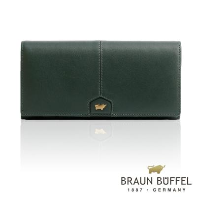 BRAUN BUFFEL - 蕾絲莉系列18卡兩折長夾 - 森林綠