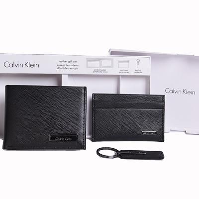 Calvin Klein CK熱銷款防刮皮夾名片夾鑰匙圈禮盒套組-黑