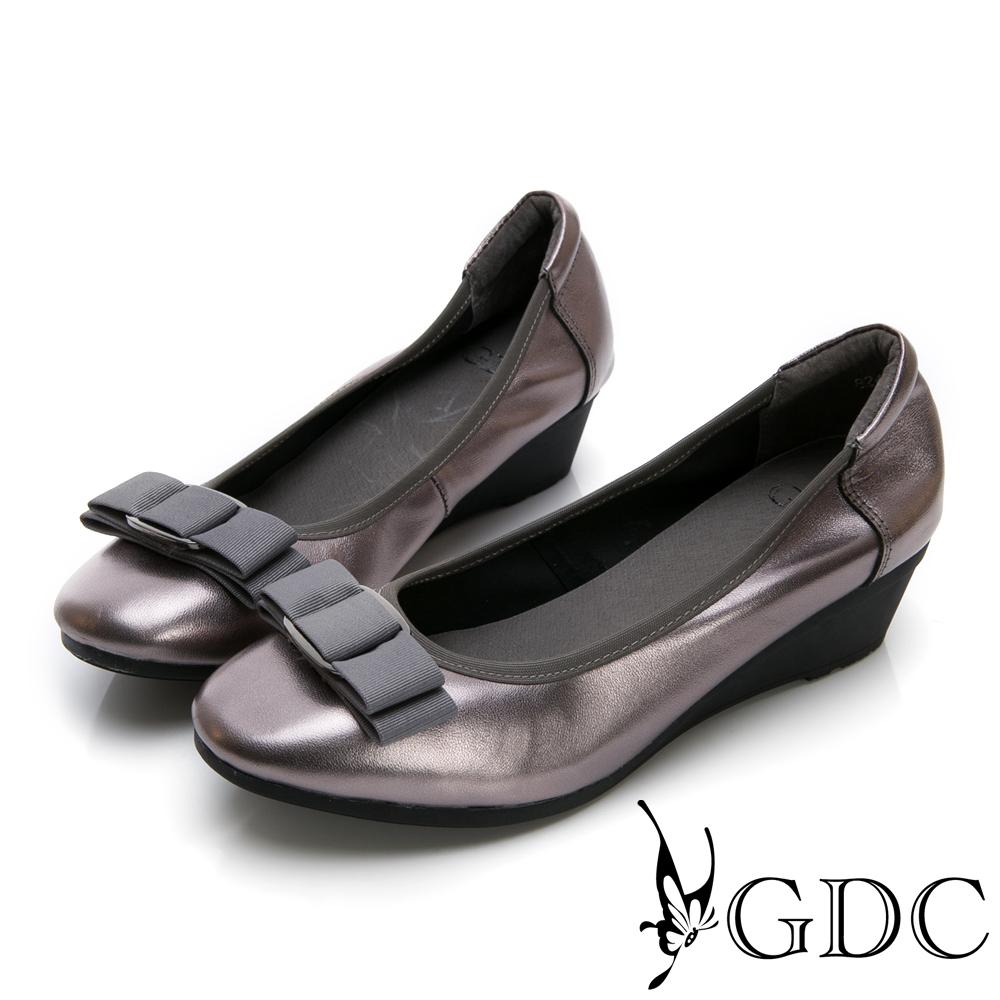 GDC-真皮基本素色金屬感緞帶蝴蝶結上班楔型鞋-灰色