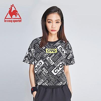 le coq sportif 法國公雞牌COQ系列潮流印花純棉短袖T恤 女-黑