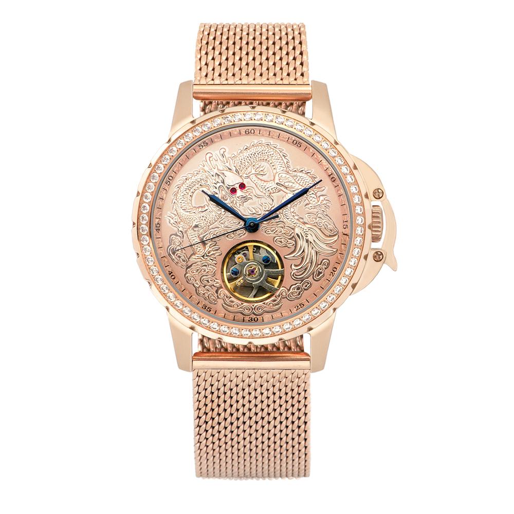 Manlike 曼莉萊克 豪華龍王限量機械錶 玫瑰金 金面 米蘭帶