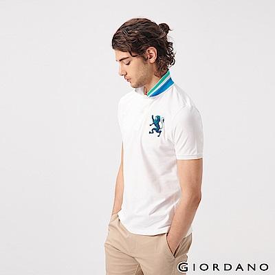 GIORDANO 男裝勝利獅王漸層刺繡彈力萊卡POLO衫-31 標誌白